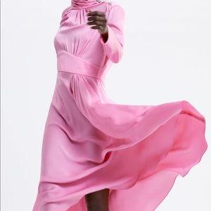 Zara Satin Long Dress w/ Jewel Button Detail sz XL
